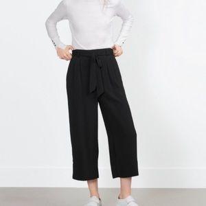 Zara Tie Waist Culotte Pants